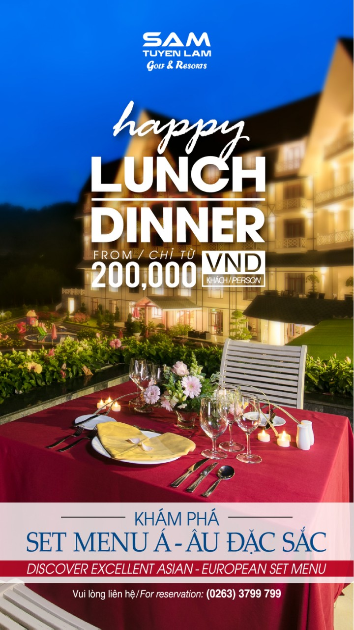 EXCITING PROMOTION FOR HAPPY LUNCH/DINNER WITH ONLY 200,000 VND / PERSON