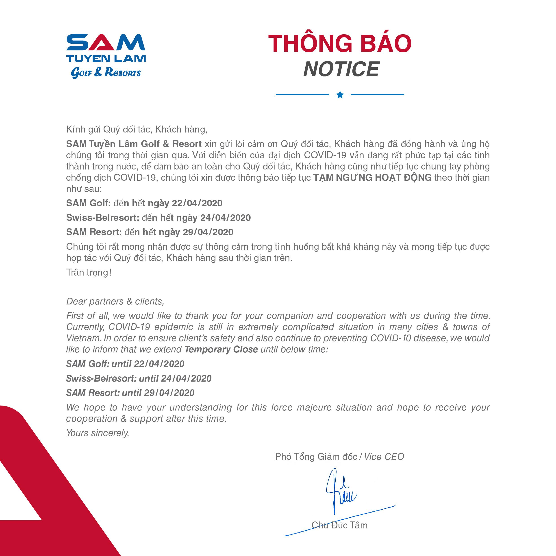 (Tiếng Việt) Thông báo tiếp tục tạm ngưng hoạt động
