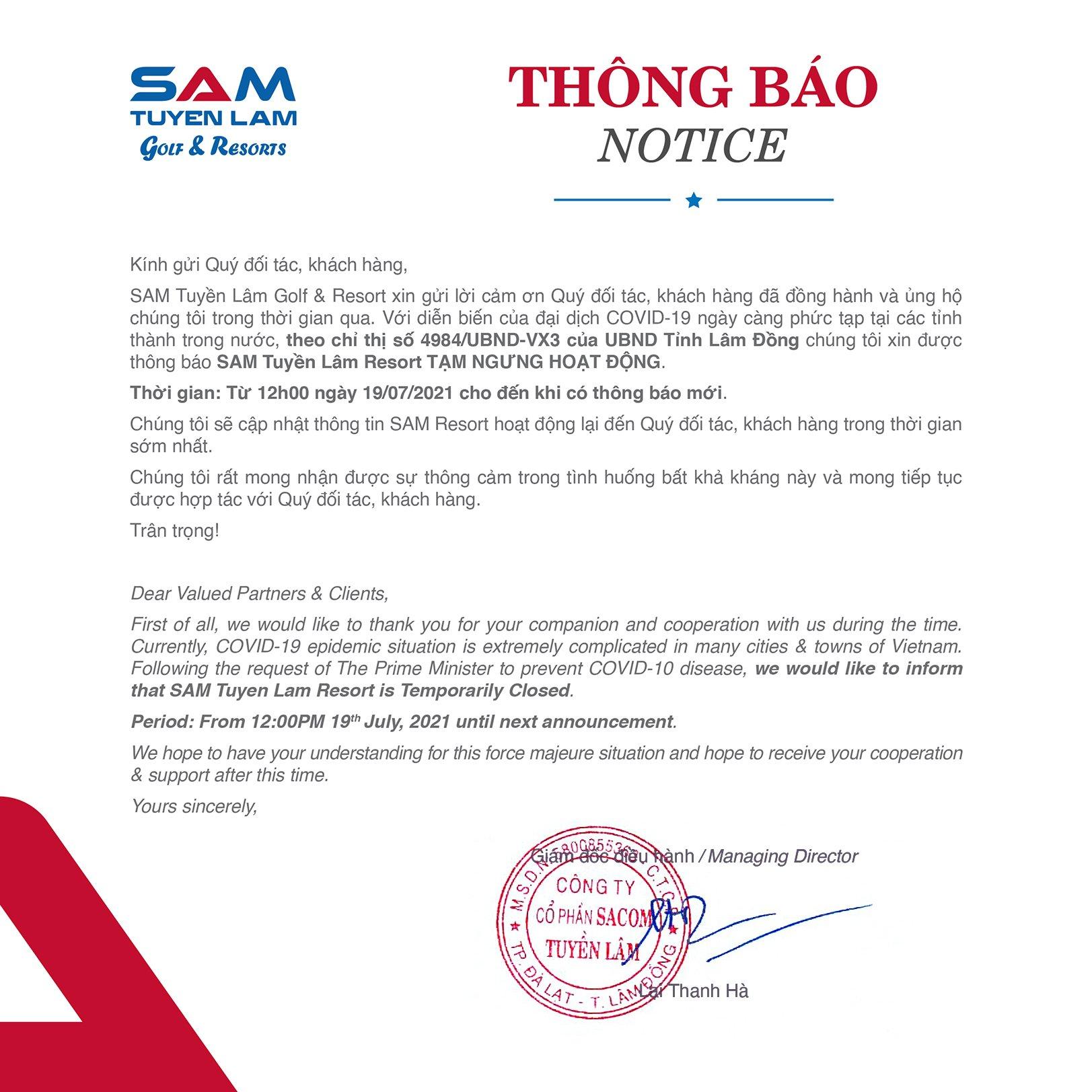 (Tiếng Việt) THÔNG BÁO TẠM NGƯNG HOẠT ĐỘNG
